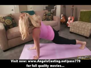 golden-haired mother i does yoga and