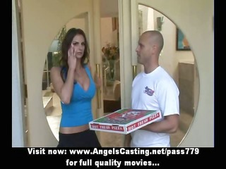 sexy brunette does oral for chap with pizza on