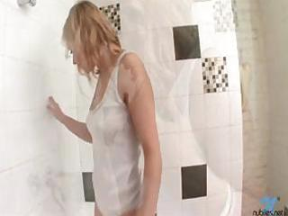 breasty blond bathes in white cotton wife beater