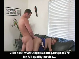 blond schoolgirl fucked from behind and getting
