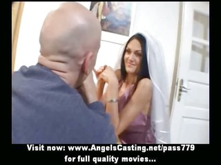 outstanding brunette bride doing oral-service
