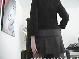 secretary slut wearing seamless dark hose fingers