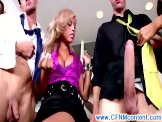 Group of cfnm femdom milfs giving hot bj to lucky