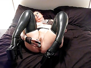 latex nylons and 2 inch heels