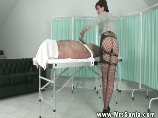 domina lends him a hand with his hard ramrod