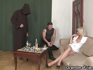 lonely granny swallows dongs