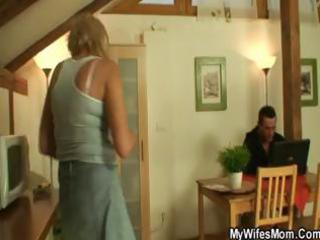 horny golden-haired granny sucks and copulates