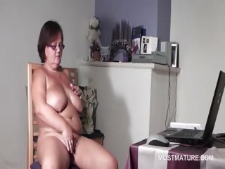 large titted aged babe satisfying her excited cunt