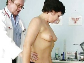 mature woman eva visits gyno doctor to acquire