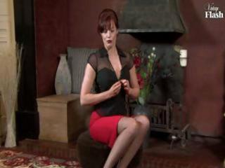 red-haired mature lass in darksome nylons fingers