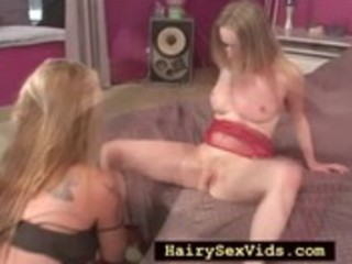 Hairy mature lesbo with teen girl