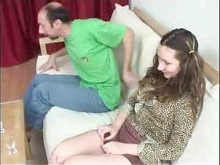 horny fuckers and youthful on sofa