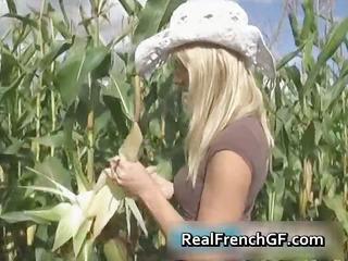 breasty teenage gf pussy gangbanged in corn part1