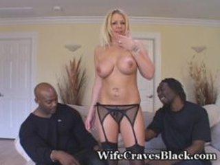 blond wife engulfs dark studs