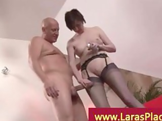older woman stretching her pussy