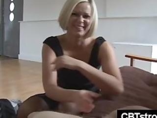 blond milf slaps schlong harsh during handjob