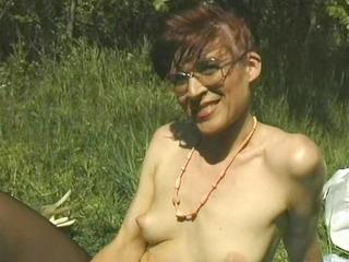 Mature pantyhose woman outside
