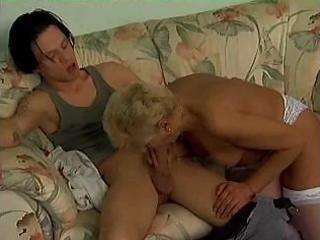mature blond in white bonks