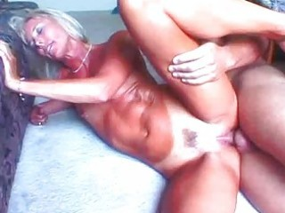 hawt blond granny toys her pussy before fucking