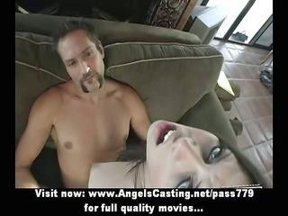 nude brunette hair with piercing in slit screwed