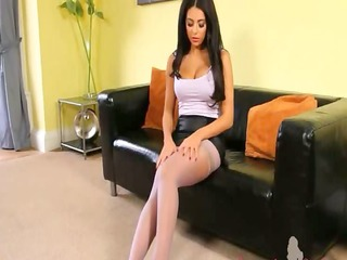brunet gal with pretty strip