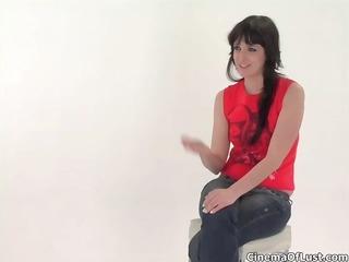 hot brunette hair dilettante girl showing her
