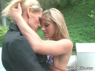 lesbo outdoor play where sexy golden-haired