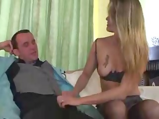 french doctor gives golden-haired a shot in the
