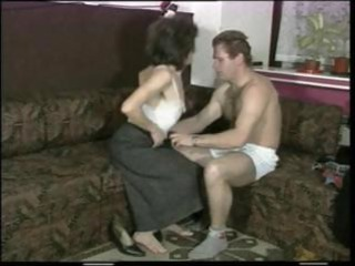 Skinny milf with small droopy tits gets fucked by
