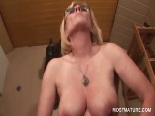kinky aged in glasses working her old cunt from