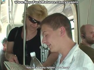 older woman fucked hard by wild young guys