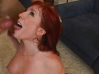 cute breasty redhead milf getting hard fucked and