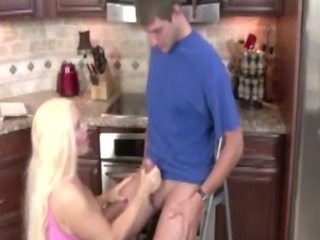 kitchen cock grabbing by the excited floozy milf