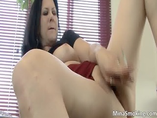 aroused sexually excited brunette floozy copulates