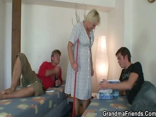 old cleaning woman is group-fucked by chaps