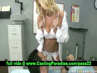 riley evans golden-haired doctor teasing a guy