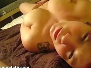 breasty wife masturbates and acquires facialized