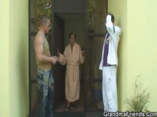 dudes gangbang nasty granny