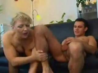 plump older russian golden-haired eats his knob