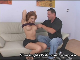 hubby jerks off watching wife bang ally