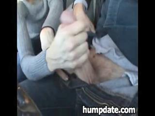 Lucky guy gets nice handjob in his car