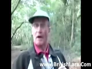 mature british woman picks up hiker and receives