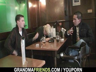 dudes gangbang absolutely drunk granny