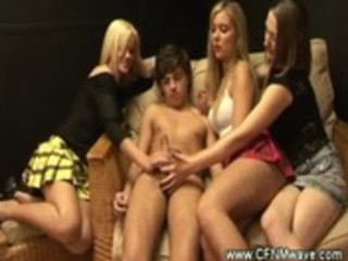 Cfnm mature ladies jerking a young cock