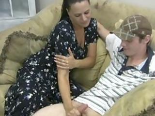 lustful mother gives handjob