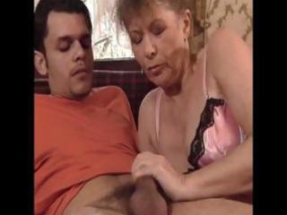 sexy looking granny sucks a younger dick and then