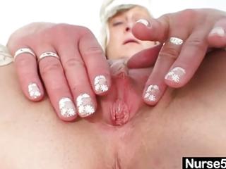 ribald nurse milf nada bonks herself with large