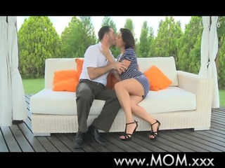 mommy brunette milf acquires trio loving