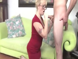 cfnm milf with glasses jerking off dong