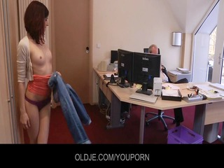 youthful naughty assistant fucking her old boss